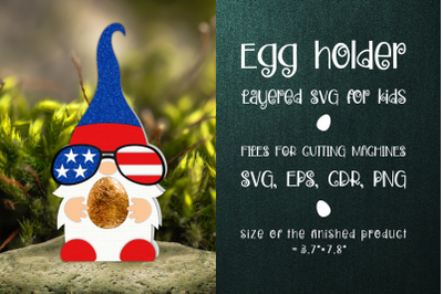 Fourth Of July Gnome Chocolate Egg Holder template SVG