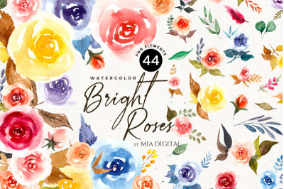 Bright Roses Watercolor Floral Elements/Light Aquarelle Roses Peonies