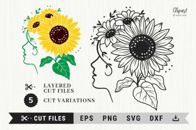 Sunflower SVG, DXF, PNG, EPS. Girl Sunflower Cut files