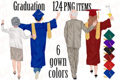 Graduation Clipart,Graduation gowns,Family clipart,Grad hats