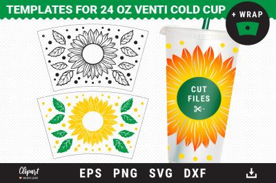 Full Pre-sized Wrap Venti Cold Cup 24 Oz Sunflower SVG Cut files