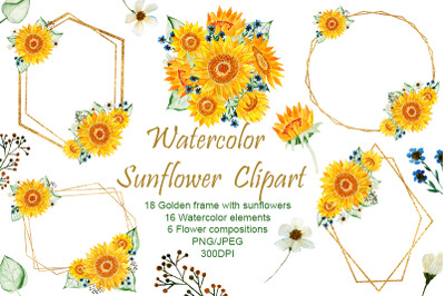 Sunflowers. Watercolor flowers. Gold Frames.