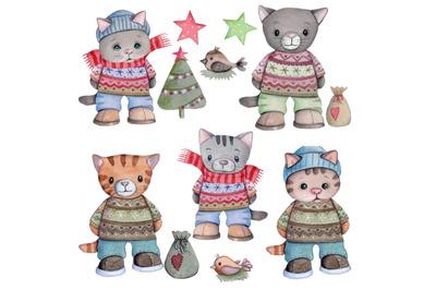 Set of Winter Cats. Watercolor illustrations.
