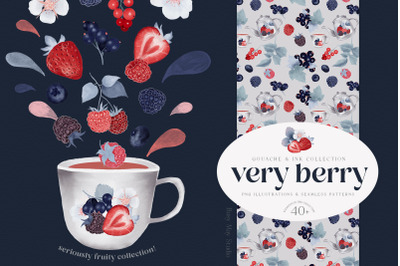 Gouache Berries Illustrations and Seamless Patterns PNG JPEG