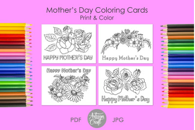 Mothers day coloring card, Happy Mothers Day card, daises, roses