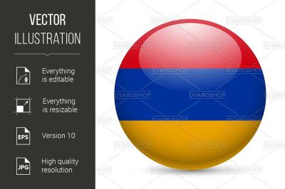 Round glossy icon of Armenia