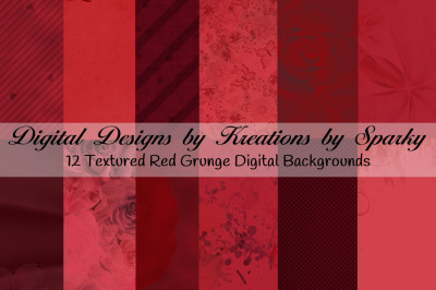 12 Red Grunge Texture Digital Backgrounds