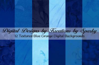 12 Blue Grunge Texture Digital Backgrounds