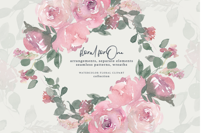 Watercolor Dusty Rose Clipart Large Set