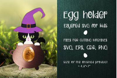 Halloween Black Cat Egg Holder Template SVG
