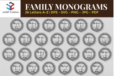 The Family Monogram A-Z Letters Design Bundle SVG