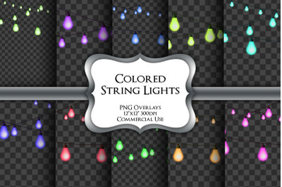 Colored String Lights Overlays Transparent PNG