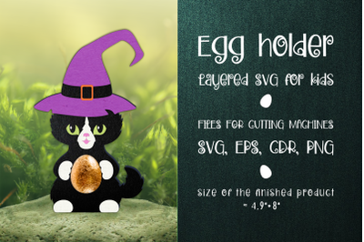 Black Cat - Halloween  Egg Holder Template SVG
