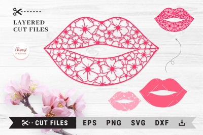Flower lips SVG, DXF, PNG, Lips Cut Files