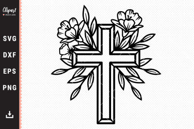 Flower Cross SVG, DXF, PNG, Religious Cross SVG Cut files