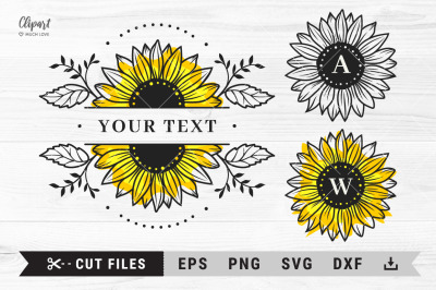 Sunflower SVG, Split monogram sunflower SVG, DXF, PNG