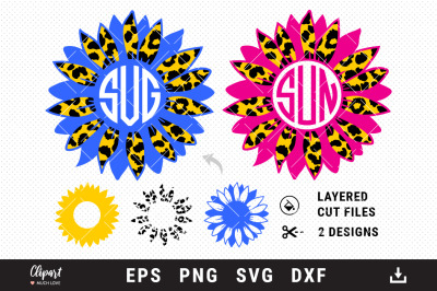 Sunflower monogram SVG, Sunflower Leopard print Cut Files