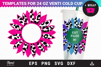 Sunflower Decal for 24oz Venti cold cup  SVG, Full Pre-sized Wrap