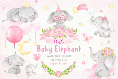 Watercolor Pink Baby Elephants Clipart, Nursery PNG Graphics
