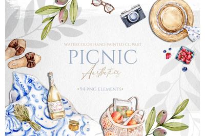 Watercolor Summer Picnic Aesthetics Clipart