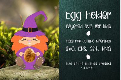 Witch - Halloween  Egg Holder Template SVG
