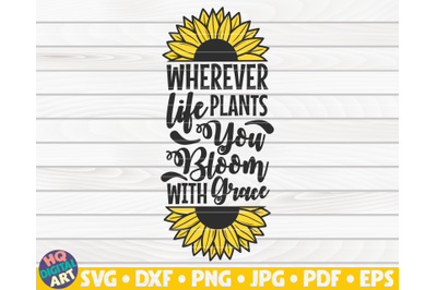 Wherever life plants you bloom with grace SVG   Sunflower quote SVG
