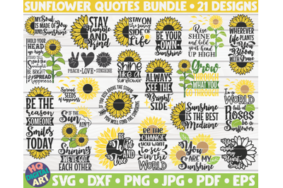 Sunflower quotes Bundle SVG | 21 designs