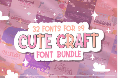 The Cute Craft Bundle (Craft Fonts, Cute Fonts, Girly Fonts)