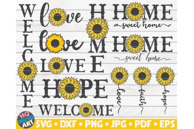 Sunflower Signs SVG Bundle | 10 designs