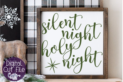 Silent Night Svg, Christmas Svg, Farmhouse Christmas Svg