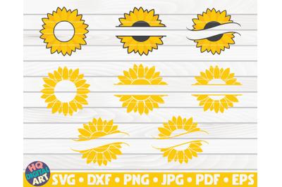 8 Sunflower Split Monogram Frames SVG Bundle