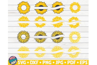 16 Sunflower Split Monogram Frames SVG Bundle