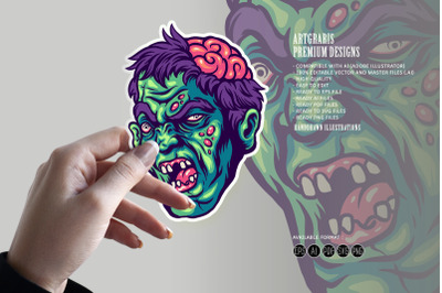 Halloween Scary Zombie Brain Out Clipart SVG