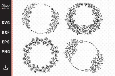 Floral Wreath SVG, Monogram SVG Bundle, Wedding Wreath SVG, DXF, PNG