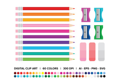 Color Pencil, Sharpener, and Eraser