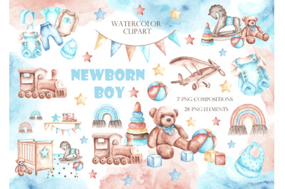 Newborn baby boy watercolor clipart. Baby shower clipart. Children