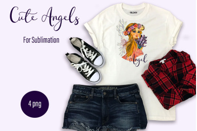 Angel girl with lavender, sublimation