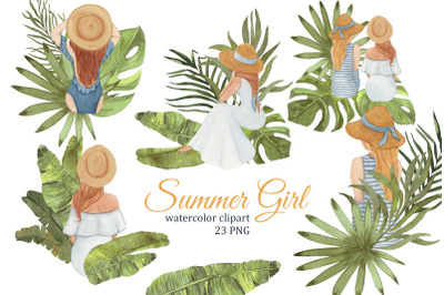 Summer Girls tropical watercolor clipart, Fashion illustration, planne