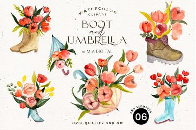 Boots and Umbrella with Flowers Watercolor/Wedding Floral/PNG Download