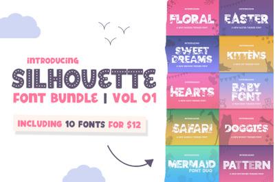 The Silhouette Font Bundle - Vol 01 (Craft Fonts, Cricut Fonts)