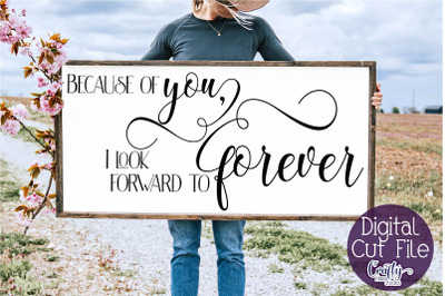 Farmhouse Svg, Home Sign, Love Quote Svg, Because Of You