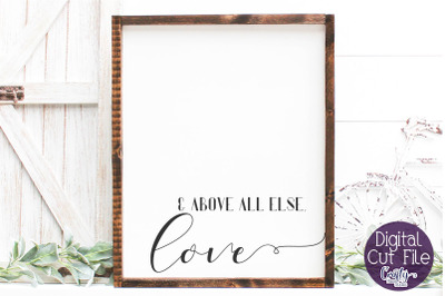 Farmhouse Svg, Home Sign, Love Quote, Above All Else Love