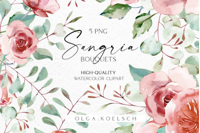 Boho roses bouquets clipart, Eucalyptus watercolor floral borders png