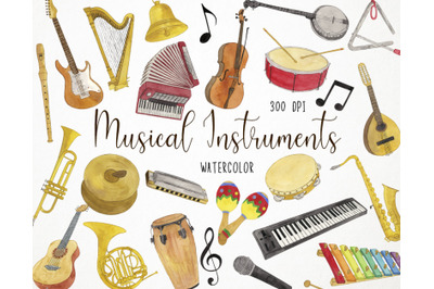Watercolor Musical Instruments Clipart, Music Clipart