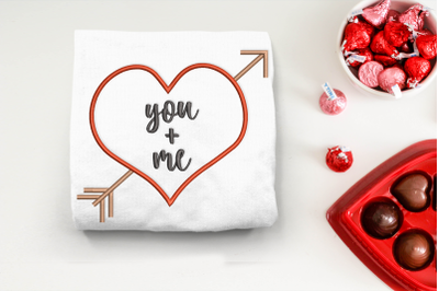 You and Me Heart with Arrow | Embroidery