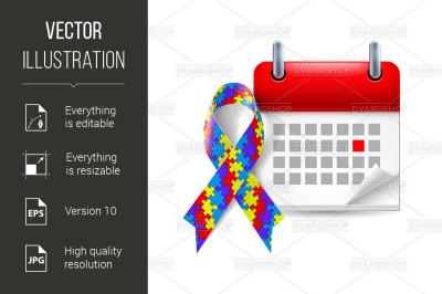 Puzzle awareness ribbon and calendar