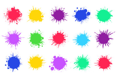 Paint splatters. Spray paint painted drips, grunge dirty sprayed dots,