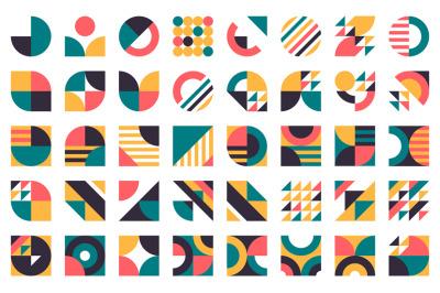 Abstract bauhaus shapes. Modern circles, triangles and squares, minima