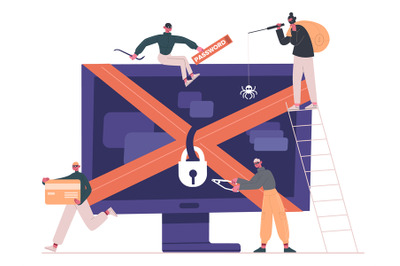 Cyber criminals and hackers. Internet criminals, crackers and robbers