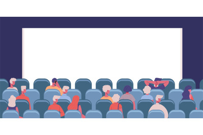 People in cinema. Movie theatre male and female characters view from b